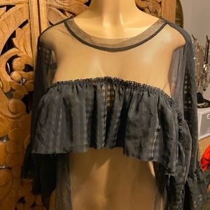 The Ragged Priest black sheer ruffle top size S